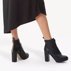 Kurt Geiger Spring Leather Lace Up Block Heel Boot